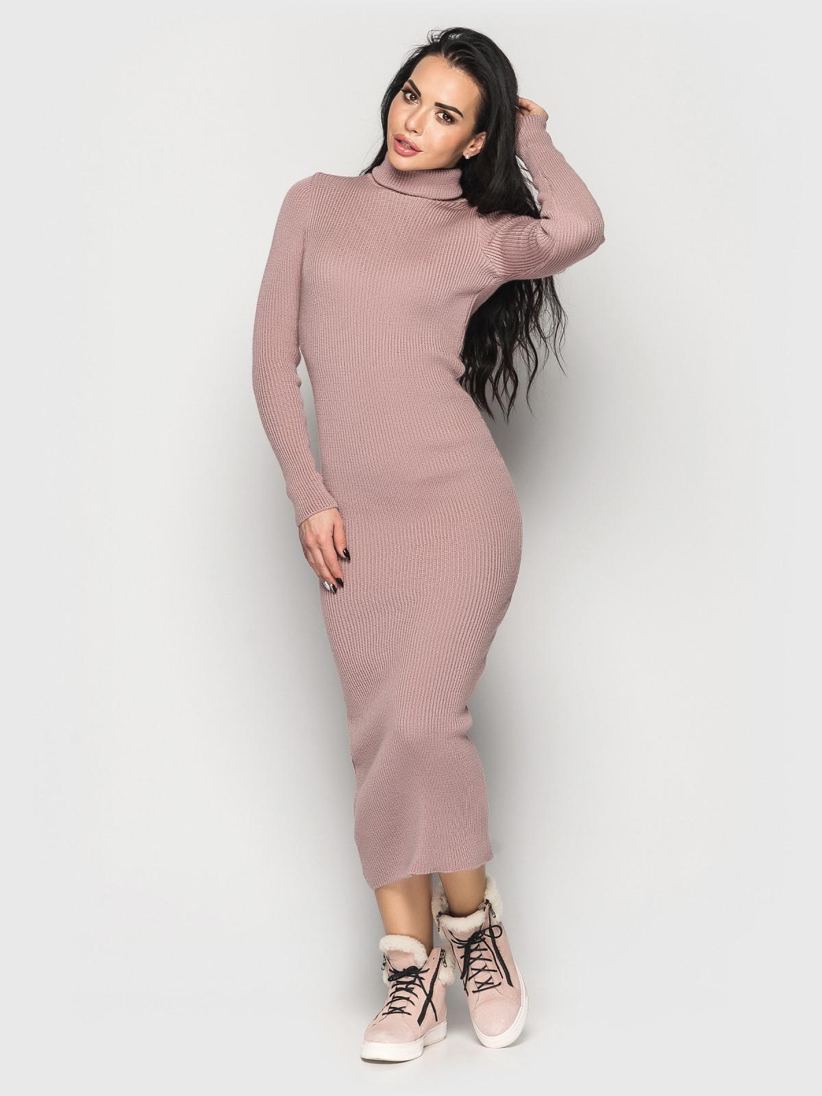 Платье вязаное Simona пудровый