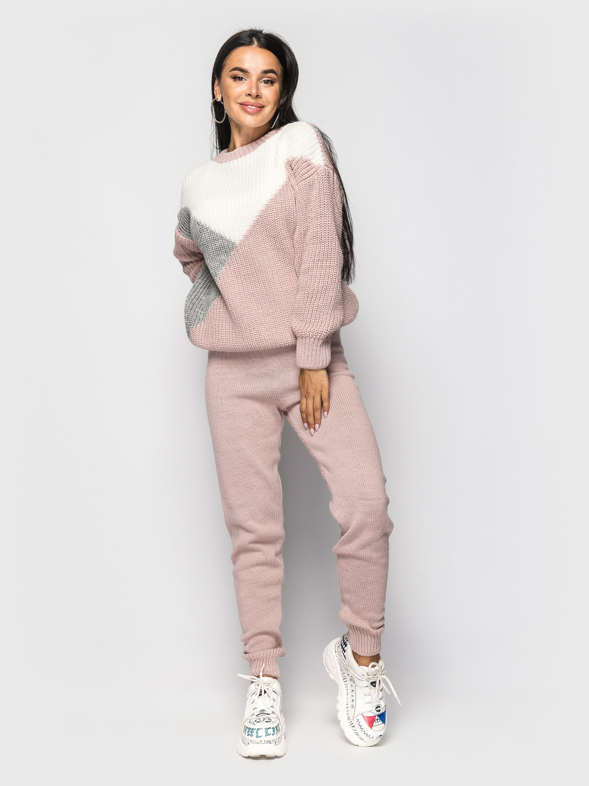 Комплект вязаный Nelson Розовый-серый-белый