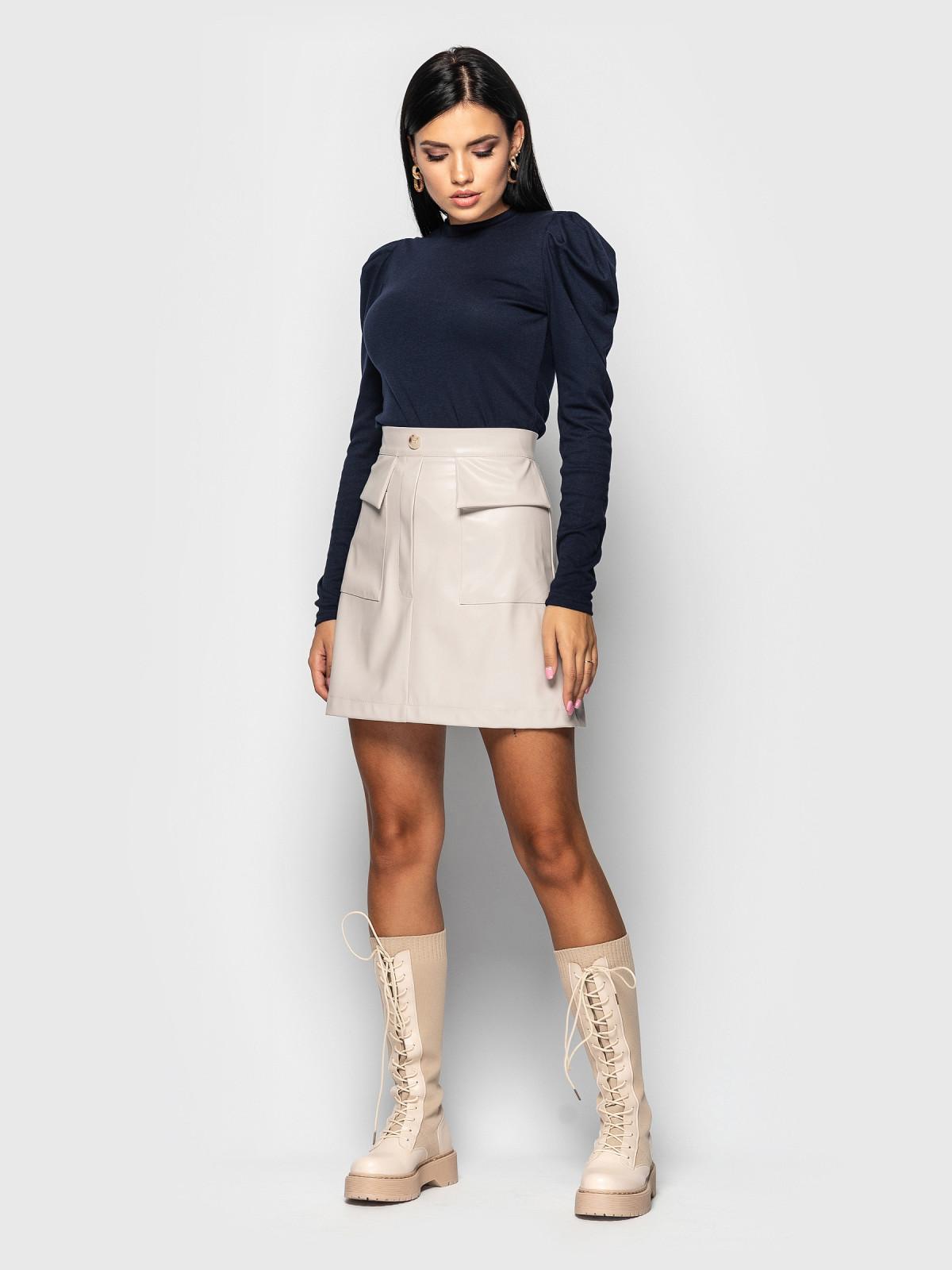Комплект юбка с гольфом Palmira Молочный-т.синий