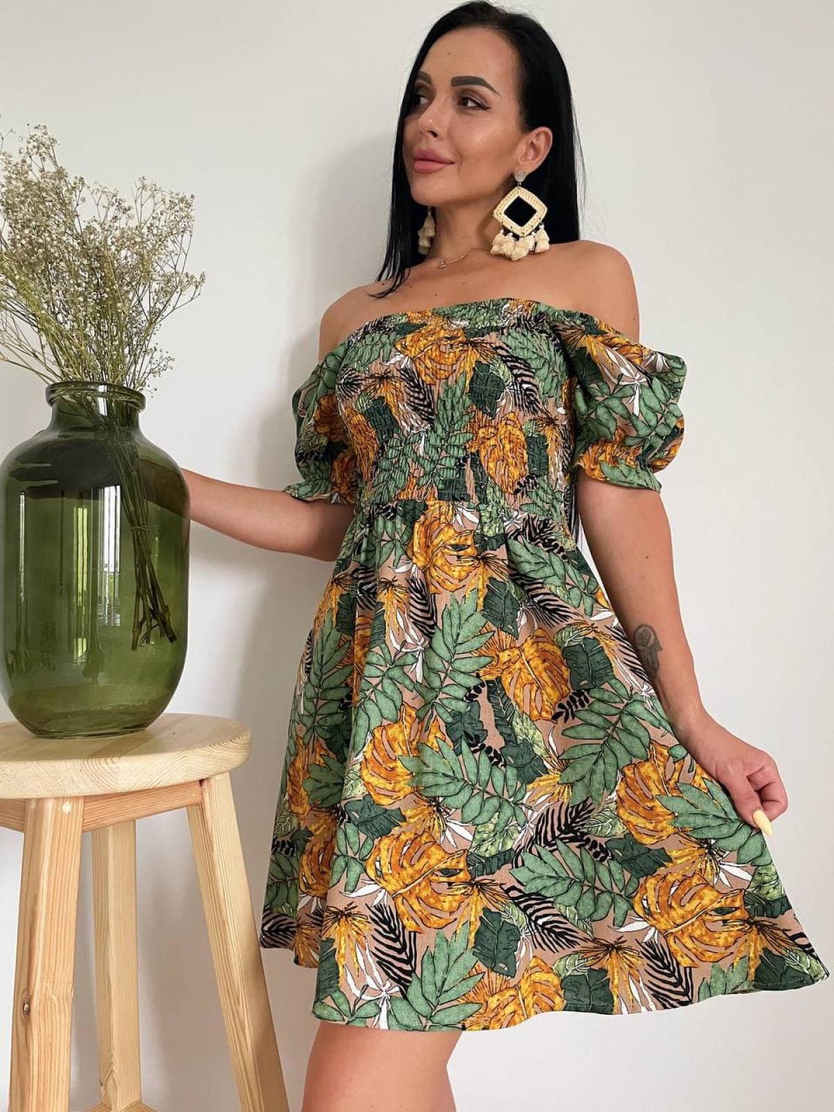 Платье HOT Бежевый-горчица
