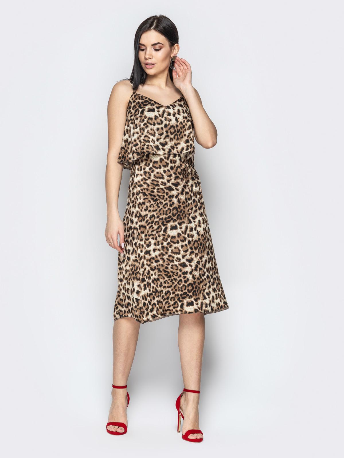 Сарафан Afina леопард бежевый