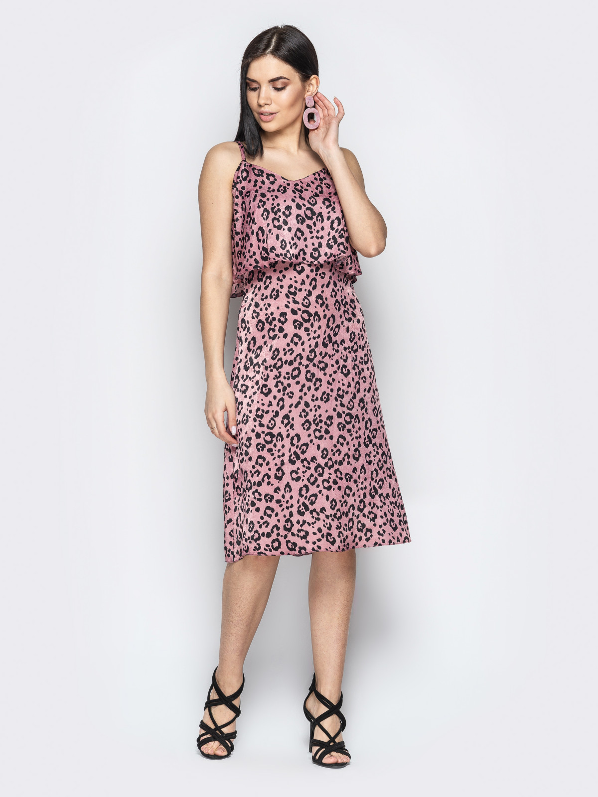 Сарафан Afina леопард розовый