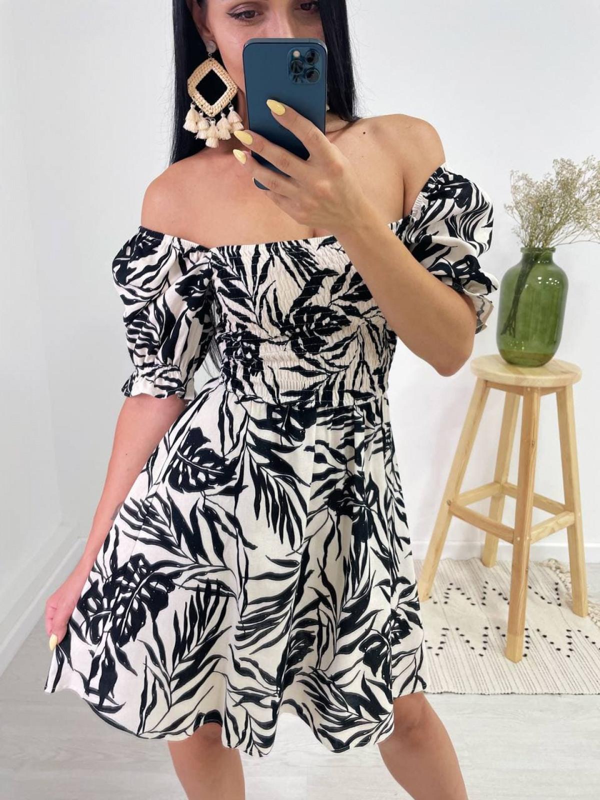 Платье HOT Бело-черный