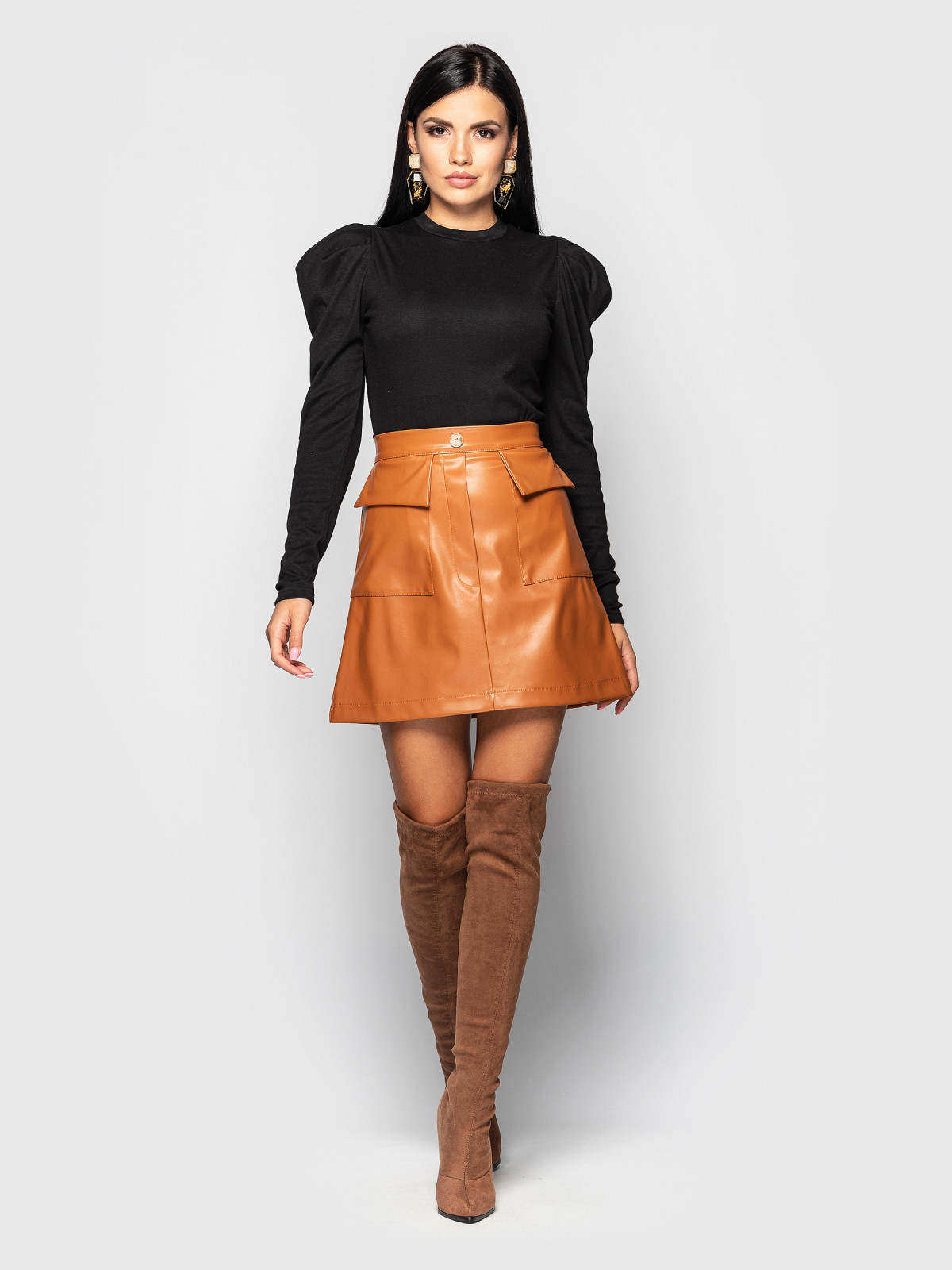 Комплект юбка с гольфом Palmira Рыжий-черный