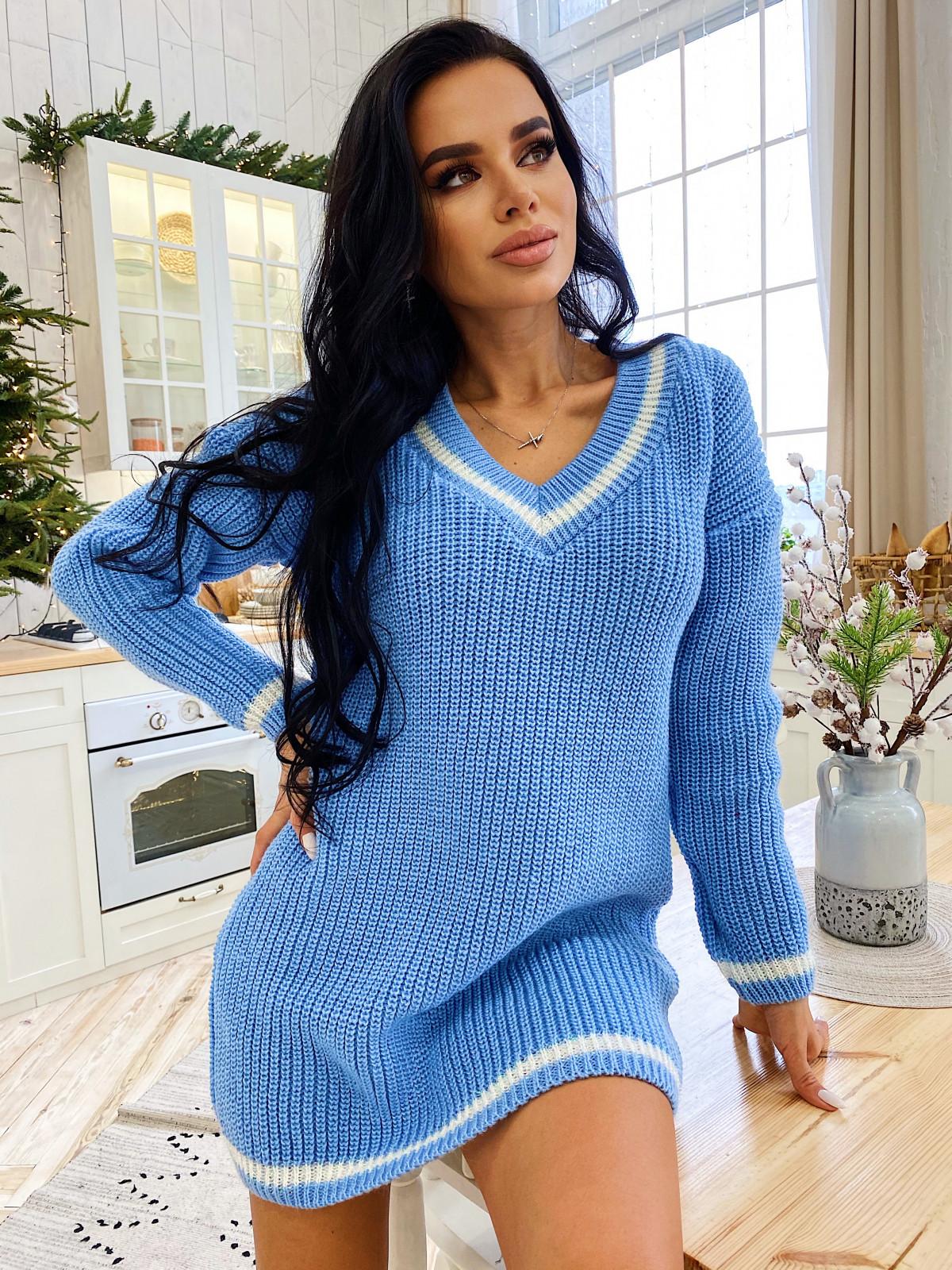 Платье вязаное Almaz голубой-белый