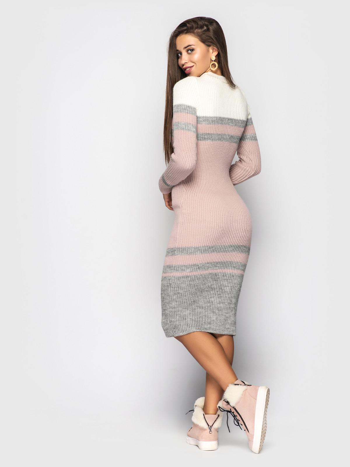 Платье вязаное Alyaska Белый-серый-розовый