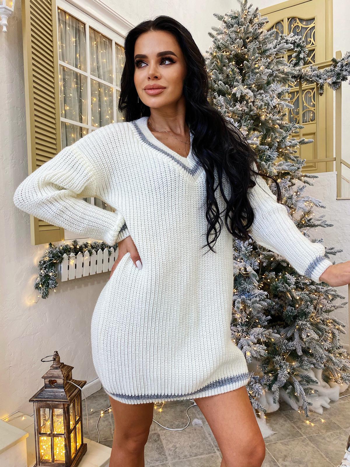 Платье вязаное Almaz белый-серый