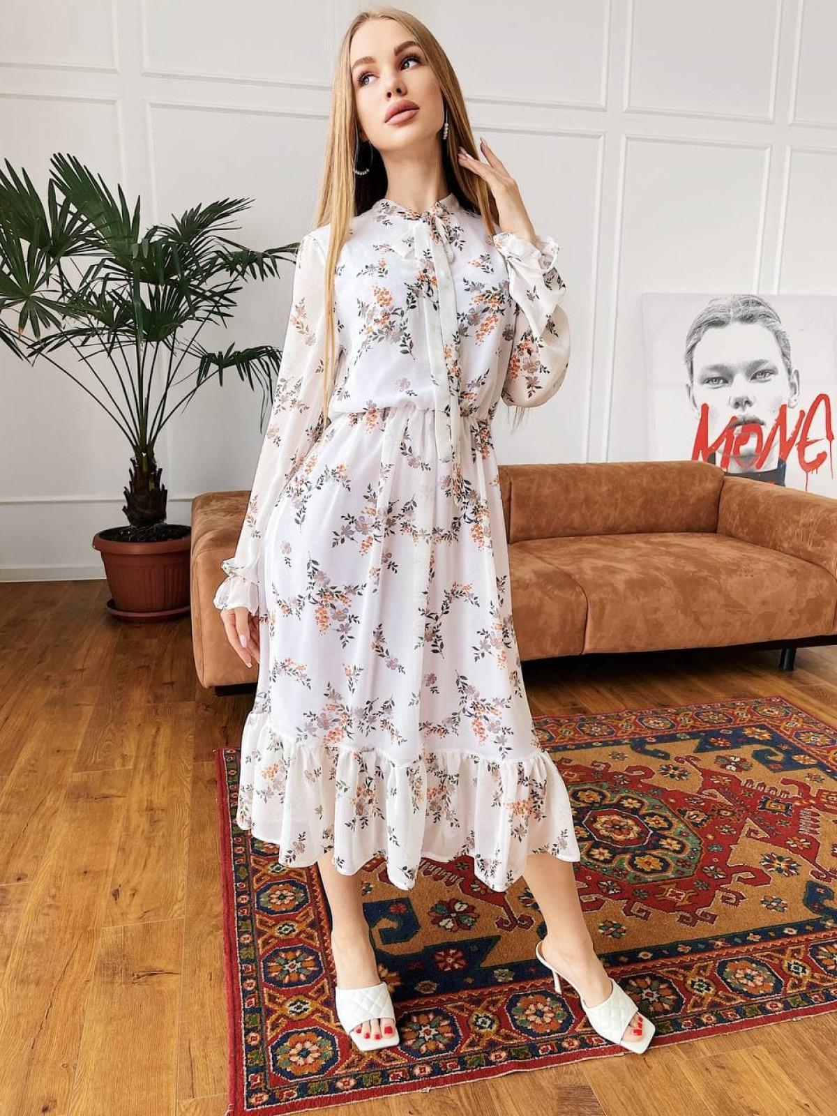 Платье Polina белый-оранжевый