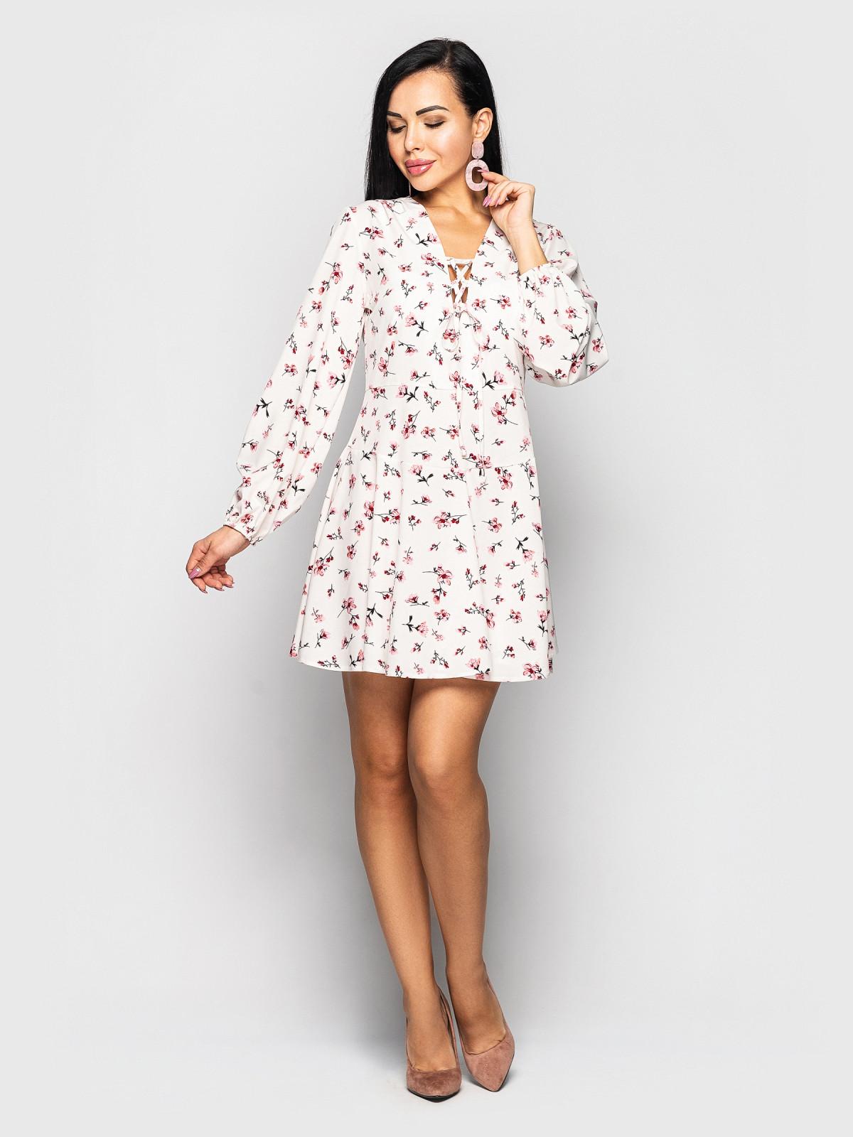 Платье Shakirasoft мелкий цветок на белом фоне
