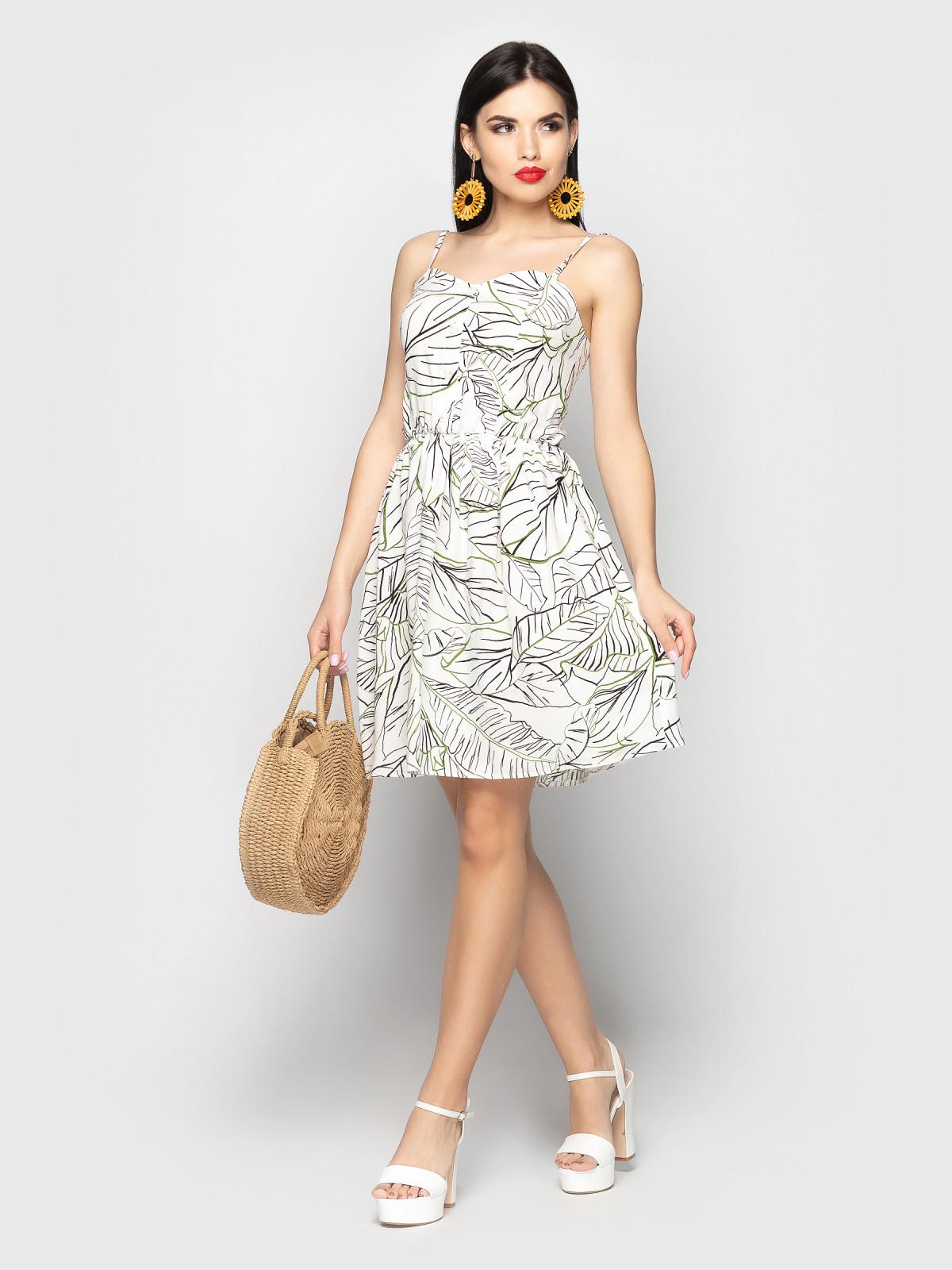 Сарафан Selena Белые листья