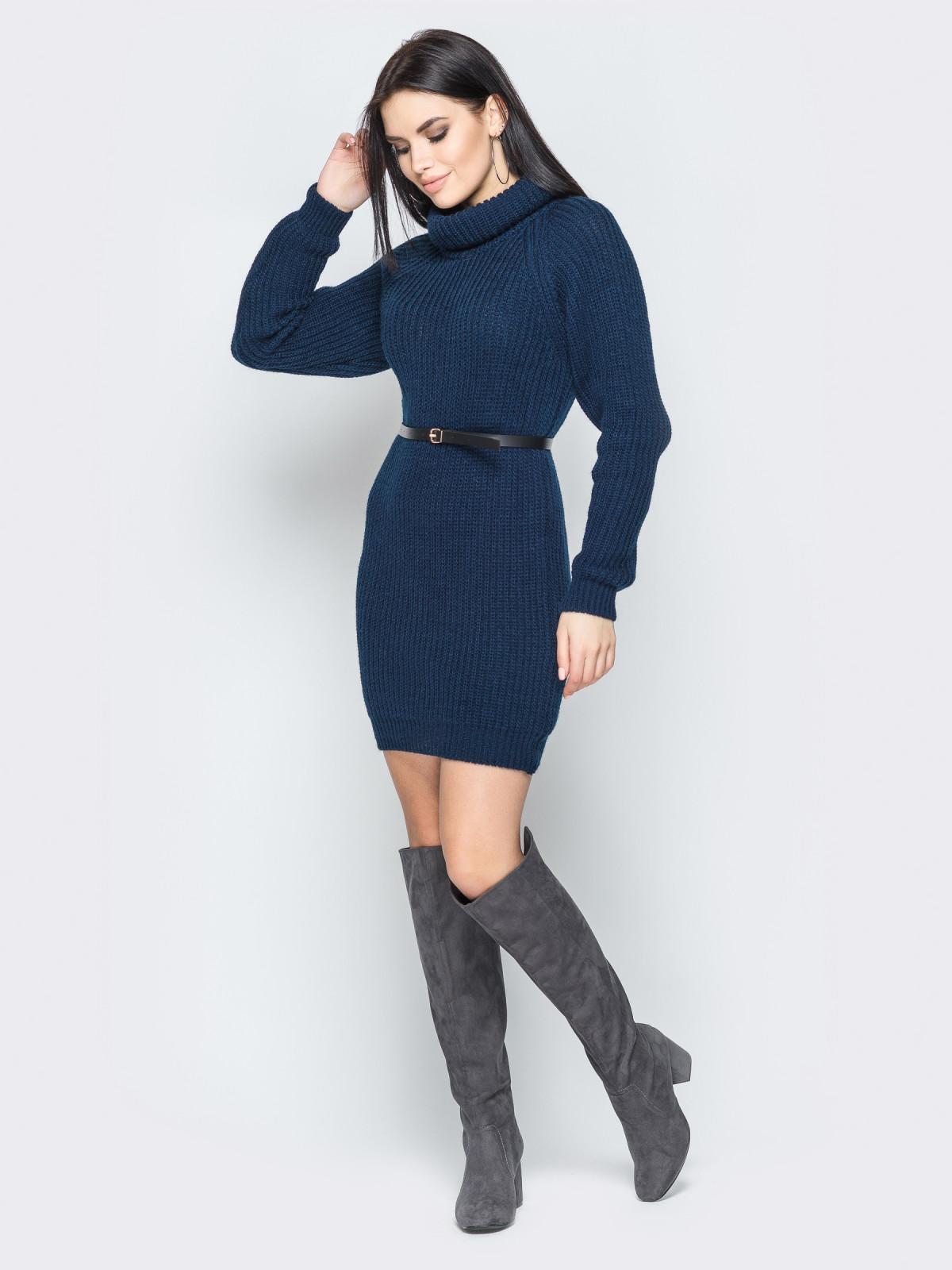 Платье вязаное Adel темно-синий