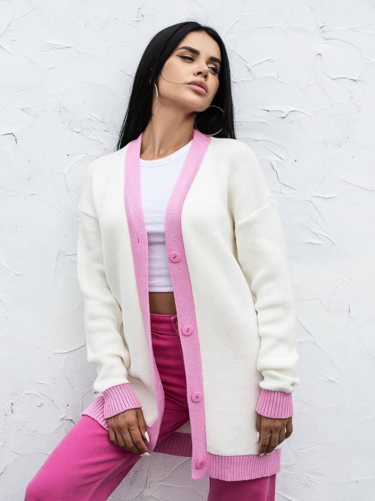 Кардиган вязаный Bunny150 Белый-розовый