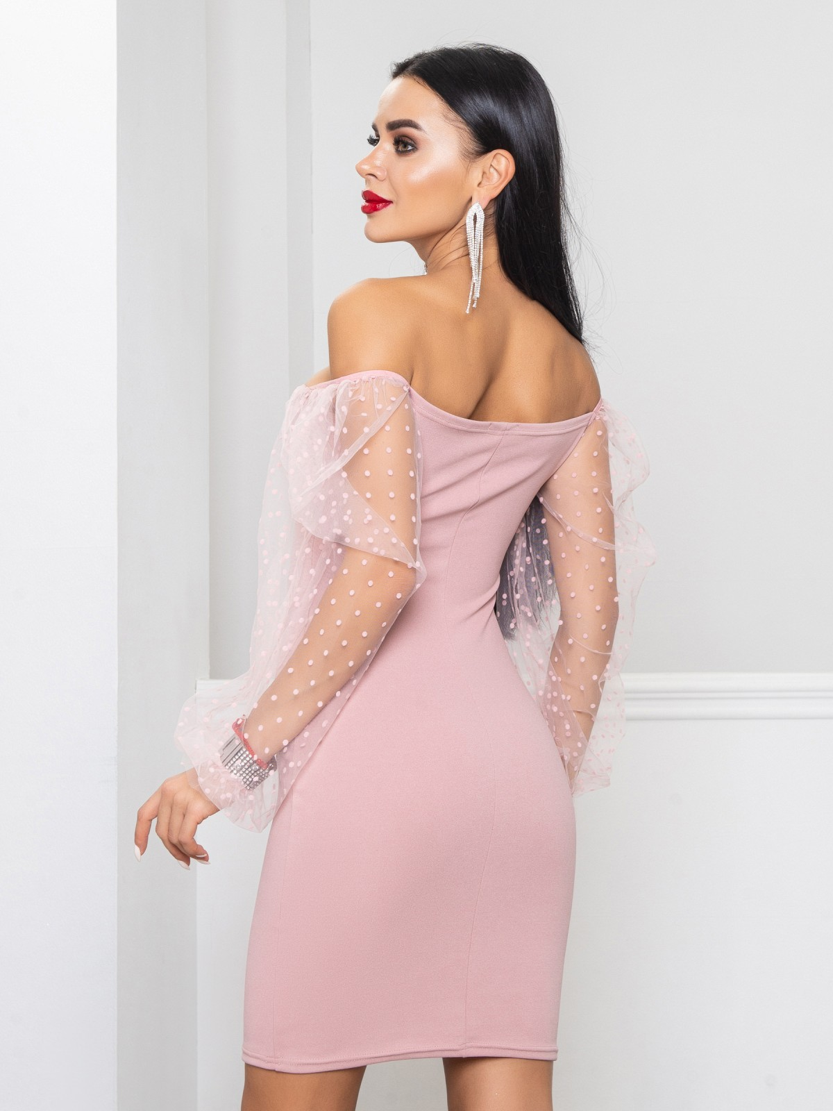 Платье Glamour  пудровый