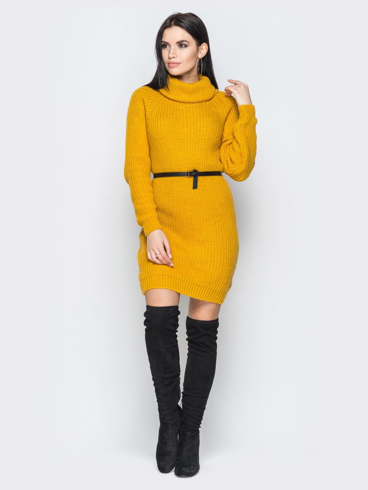 Платье вязаное Adel горчица