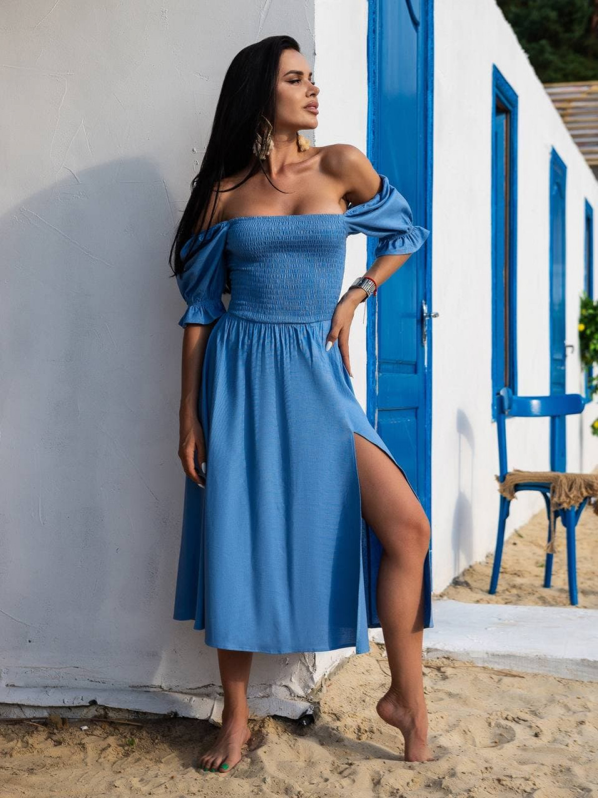 Платье Mango Голубой