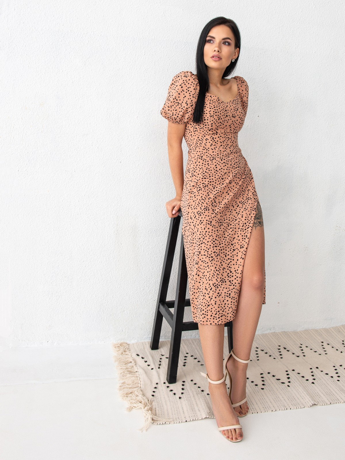Платье ELLA Бежевый-черный