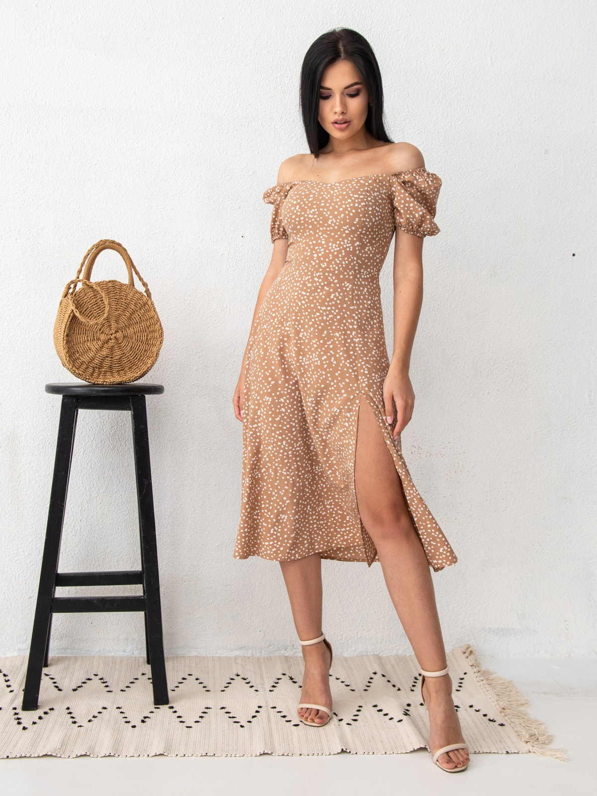 Платье ELLA Бежевый-белый