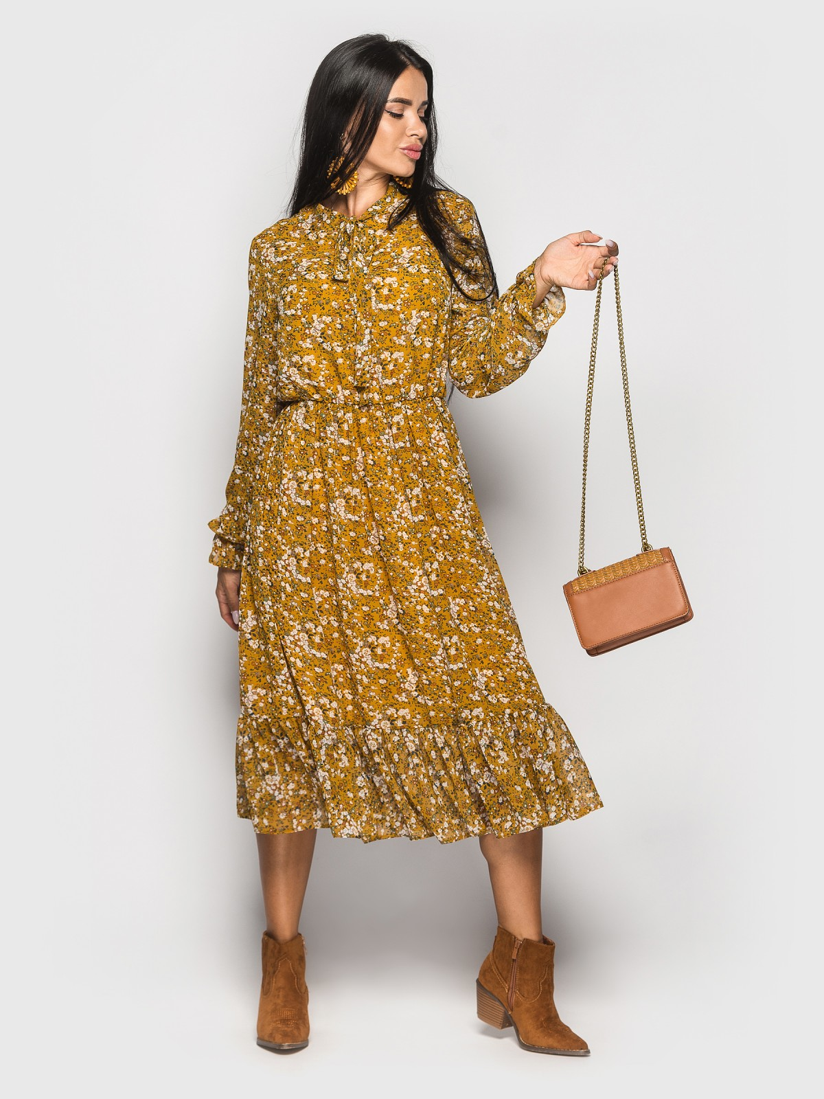 Платье Polina горчичный