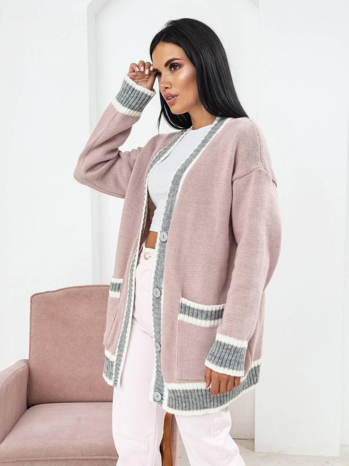 Кардиган вязаный Maison163 розовый-серый
