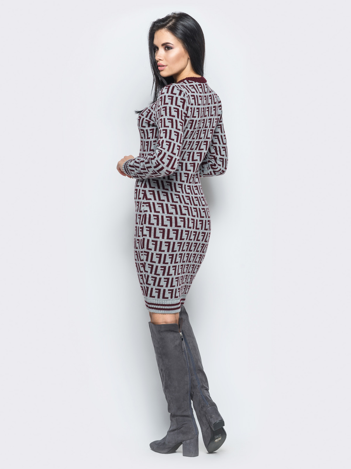 Платье Larionoff Серый-бордовый
