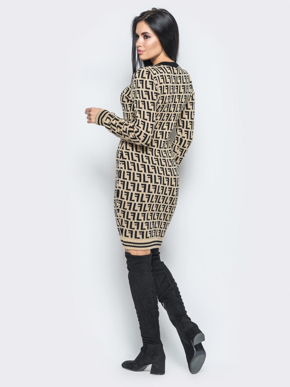 Платье Larionoff Бежевый-черный